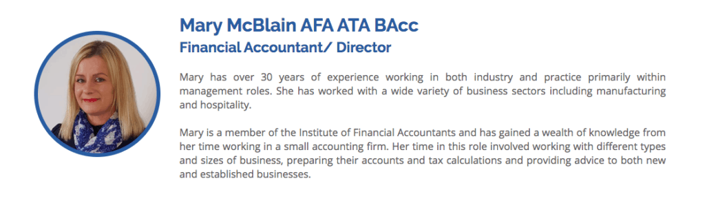 Mary McBlain from McBlain and Davis Accountants